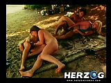 Amazing retro girls have hot sex at a nudist beach
