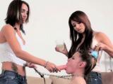 Mistress spanks her bondman