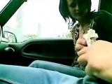 Outdoor blowjob by a car