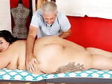 Young Fatty Mia Riley Massaged and Stimulated with Toys