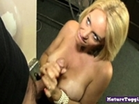 Busty blonde milf stroking cock and pulling