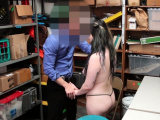 Slutty thief tugs cock