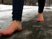 Debbie White enjoys foot sex outdoor
