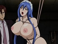 Tied up hentai maid gets pussy and ass fucked