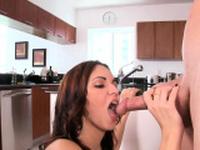 Stunning brunette floosy Bella enjoys sex activities