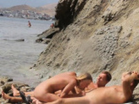 Threesome Blonde Milf Sex Nudist Beach Spycam