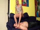 Girls smother slaves with feet