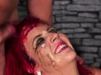 Wacky hottie gets sperm shot on her face swallowing a65kSY