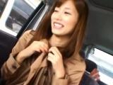 Pretty girl shows a-hole in public