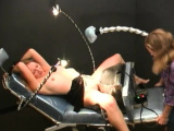 Tied up sweetie gets teased with machines