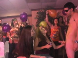 Slutty sweethearts get to ride and engulf strippers rods