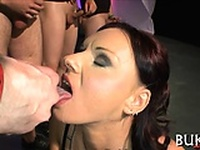 Babes face is filled with ball cock juice