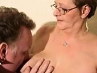 Horny granny fucks old guy