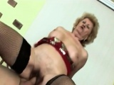 Busty blonde granny slurps long rod and rides