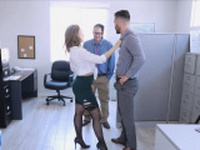 Big tit boss motivates employees with her curves