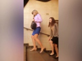 Sexy asses and thighs are revealed in stealthy upskirt shot