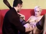 Blonde Slut In Stockings Being Fisted