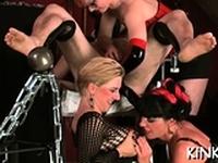 Exposed mistress rocks your world when dominating jocks
