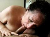 Brunette granny devouring a cock she just met