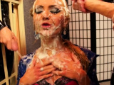 Luscious girl gets overspread in fake sex cock juice