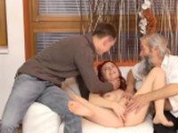 Hot blonde big tits scissoring and boss chums brother