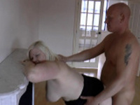 Granny in stockings gets pounded