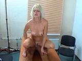 Blonde amateur hottie gives blowjob pov on a huge dick