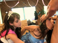 Young pratty gal loves to suck one-eyed monster publicly