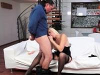 Perfect mature gets fucked after masturbation