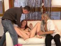 Skinny old blonde milf Unexpected practice with an older