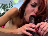 Redhead mistress dicksucking and pegging sub