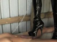 Busty mean mistress humiliates pathetic man