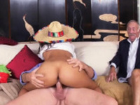 Bi couple with old man and brunette milf A time filled