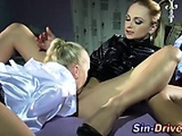 Lesbian domina gets oral from babes