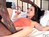 Horny babe made slim jim sucking sensation