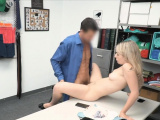 Caught blonde spreads wide on guards office desk