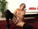 Astonishing blonde young floozy Hally get naked and relax