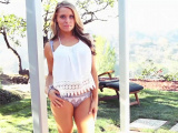5 foot tall blonde model cutie outdoor stripteasing