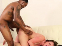 Black shaft fits in her pussy
