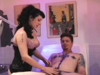Man gets bounded and totally mistreated by a breasty domme