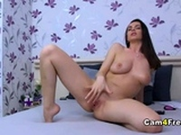 Sexy Brunette Plays Naughty on Cam