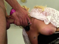 Bound and blindfolded submissive throated