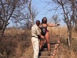 Big Ass African Bitch Gets Whipped Outside The House